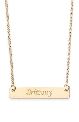 Women's Argento Vivo Personalized Script Bar Pendant Necklace $98 thestylecure.com