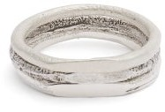 Pearls Before Swine Polished Setting Silver Ring Set - Mens - Silver
