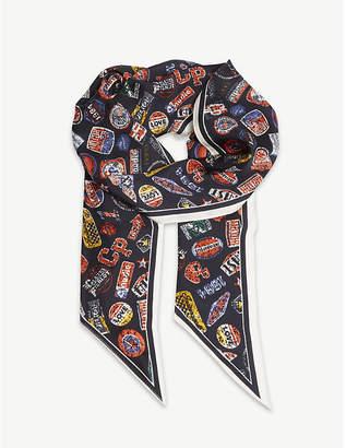 Claudie Pierlot Apatch vintage motor print silk scarf