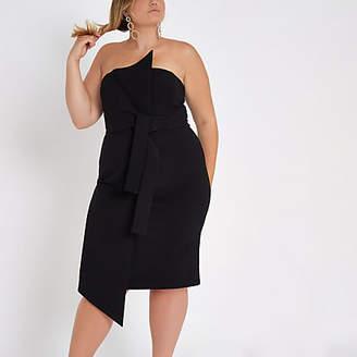 River Island Plus black knot front bandeau midi dress