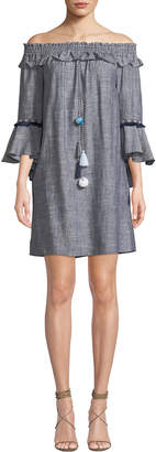 Catherine Malandrino Off-The-Shoulder Bell-Sleeve Chambray Dress