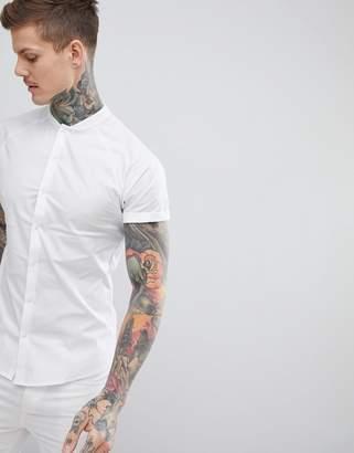 Asos DESIGN skinny shirt with baseball collar in white