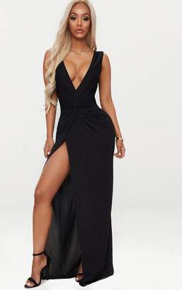 PrettyLittleThing Shape Black Slinky Wrap Detail Maxi Dress