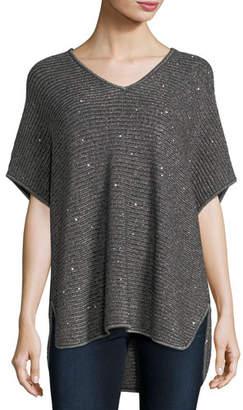 Neiman Marcus Dolman-Sleeve Sequin Shaker-Stitch Tunic