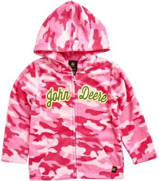 John Deere Girls 4-6x Pink Camouflage Microfleece Zip-Up Hoodie