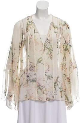 Haute Hippie Floral Sheer Blouse