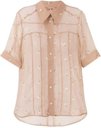 No.21 sheer embroidered shirt