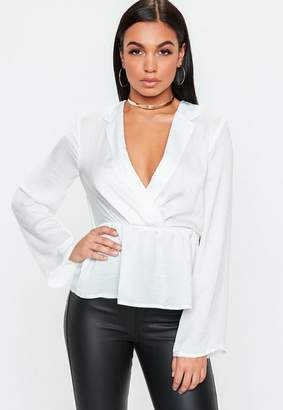 Missguided White Tailored Tuxedo Blouse