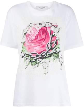 Valentino rose print lace T-shirt
