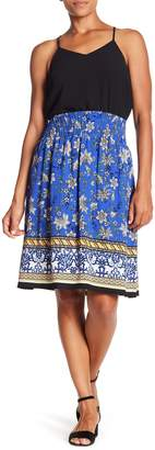 Bobeau Smocked Knee Length Skirt