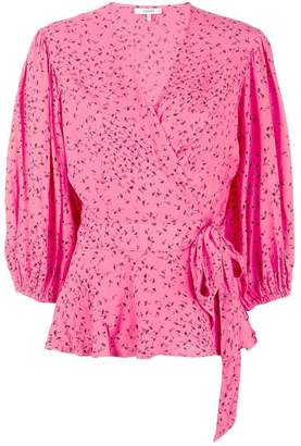 Ganni printed wrap front blouse
