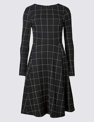 Marks and Spencer PETITE Checked Long Sleeve Skater Dress