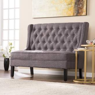 Southern Enterprises Lockley High-Back Tufted Settee Bench, Charcoal