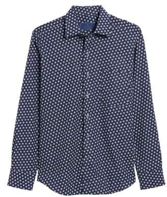 David Donahue Regular Fit Dot Print Sport Shirt