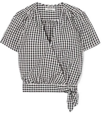 Madewell Gingham Cotton-poplin Wrap Top - Black