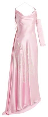 Art School - Acid Jazz Asymmetric Silk Dress - Womens - Light Pink