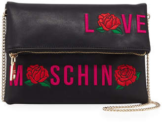 Love Moschino Logo Embroidered Flap Shoulder Bag