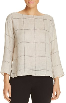 Eileen Fisher Check Print Linen Top $178 thestylecure.com