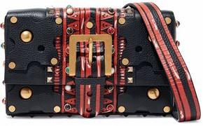 Valentino Studded Printed Textured-leather Shoulder Bag