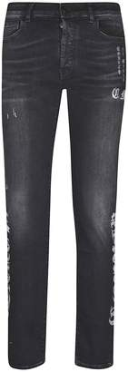 Marcelo Burlon County of Milan Printed Slim Faded Jeans