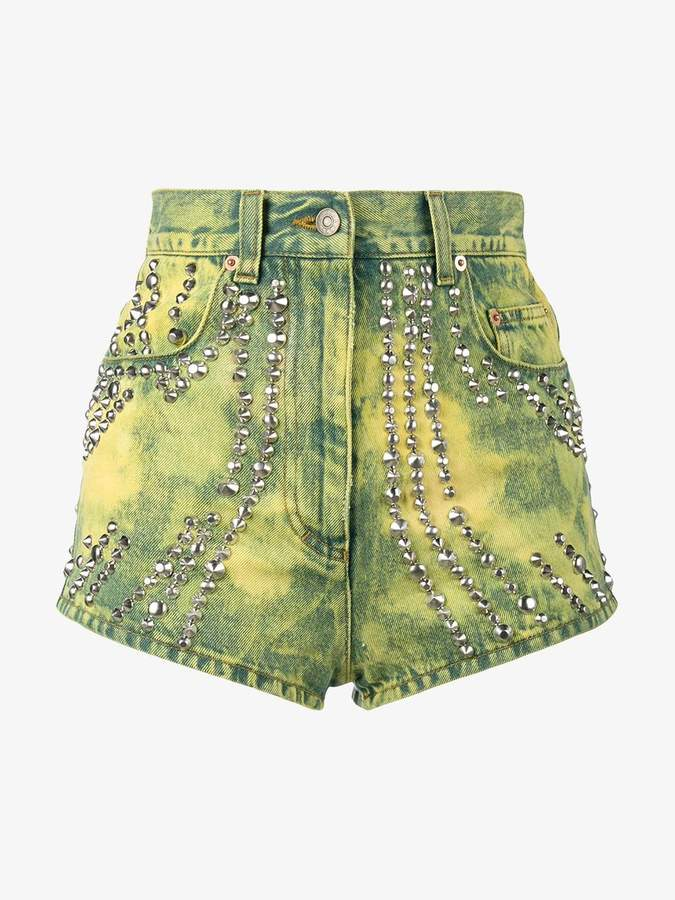 studded and tiger embroidered denim shorts