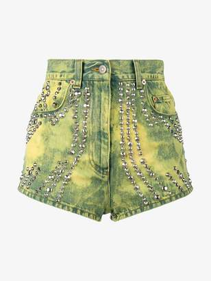Gucci studded and tiger embroidered denim shorts