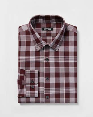 Express Slim Plaid Dress Shirt