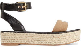 Burberry - Leather And Checked Canvas Espadrille Sandals - Black $475 thestylecure.com