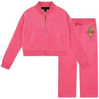 Juicy Couture Juicy CoutureGirls Pink Velour Candy Crown Tracksuit