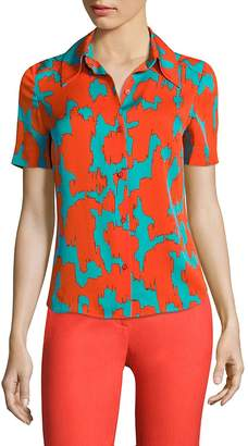 Diane von Furstenberg Women's Abstract-Print Collared Shirt