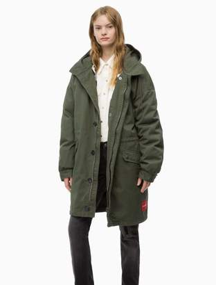 Calvin Klein military quilted lining logo patch parka