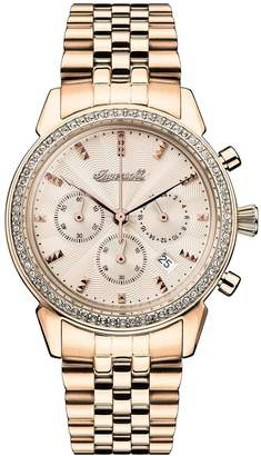 Ingersoll 1892 The Gem Rose Gold Jewelled Chronograph Dial Rose Gold Stainless Steel Bracelet Ladies Watch