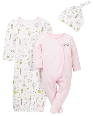 Vitamins Baby Little Gardener Footie, Gown, & Hat Set (Baby Girls 0-3M)