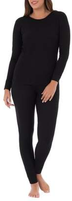 Fruit of the Loom Women's Waffle Thermal Undewear Crew Top and Bottom Set