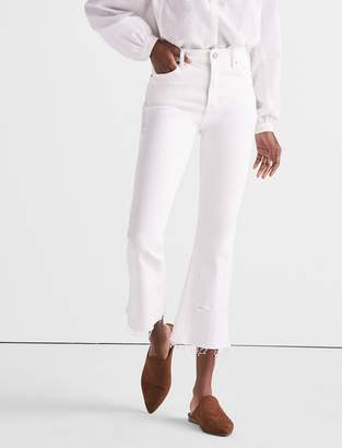 Bridgette Cropped Boot Jean In Clean White With Released Hem