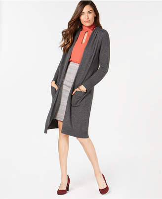 Charter Club Pure Cashmere Open-Front Hooded Cardigan