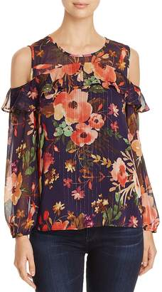 Finn & Grace Metallic Floral Cold Shoulder Top - 100% Exclusive