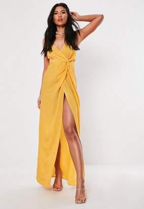 644b9085cf5 Missguided Mustard Strappy Twist Maxi Dress