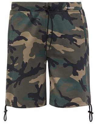 Valentino Camouflage Print Cotton Shorts - Mens - Green