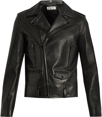 SAINT LAURENT Stud-embellished leather biker jacket $5,490 thestylecure.com