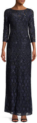 Aidan Mattox Beaded Lace Column Gown