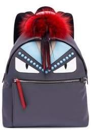 Fendi Fur-Detail Studded Monster Mini Backpack