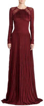 Ralph Lauren 50th Anniversary Empire-Waist Long-Sleeve Pleated Long Evening Gown