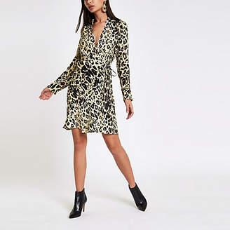 River Island Brown leopard print tie wrap dress