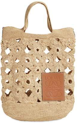 Loewe Slit Crocheted Raffia Shoulder Bag