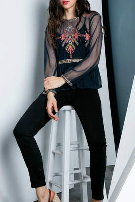 Thml Embroidered Sheer Top