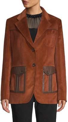 Prada Women's Leather Patch Corduroy Jacket
