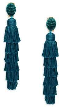 Oscar de la Renta Multi-Tiered Tassel Beaded Drop Earrings