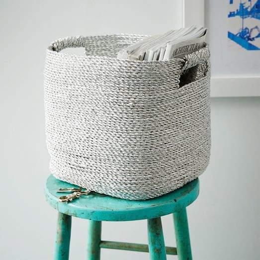 Metallic Woven Storage Basket