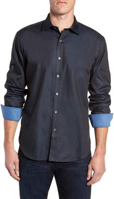 Bugatchi Shaped Fit Contrast Cuff Sport Shirt